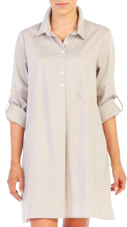 Poplin Shirtdress - Tan