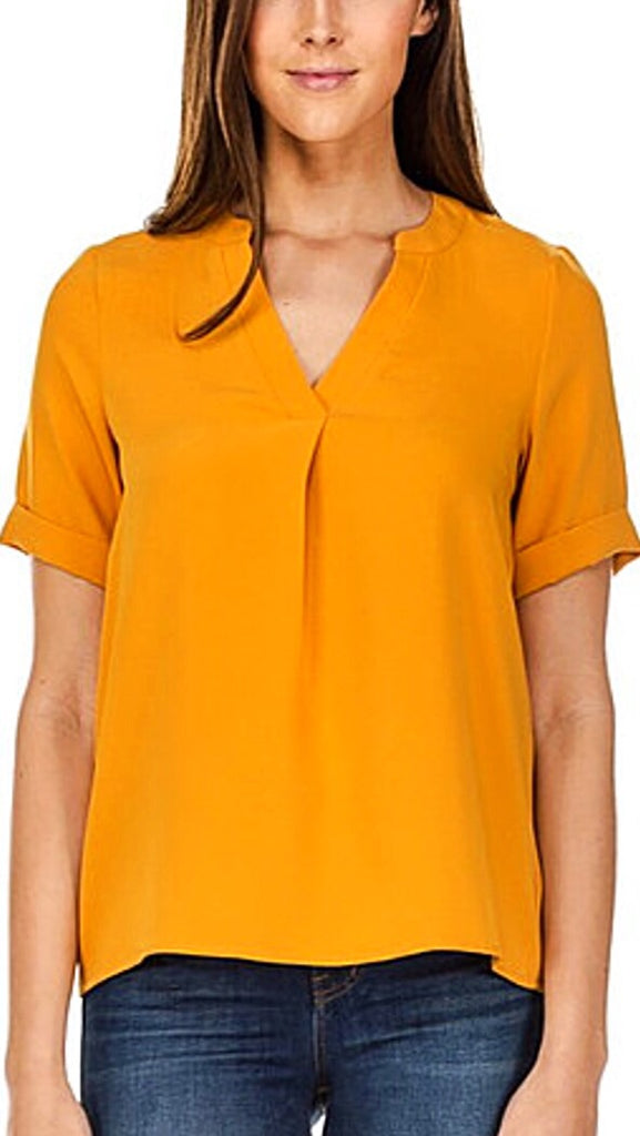 Placket Short Sleeve Top - Mustard