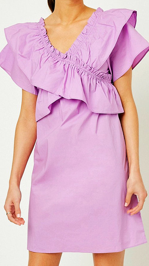 Emily Ruffle Dress - Lavender