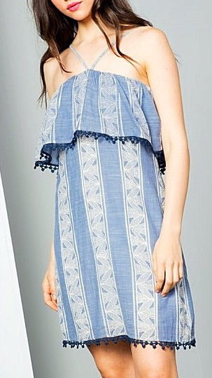 Halter Dress - Blue + White