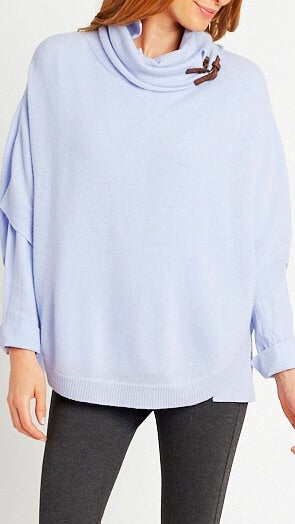 Cashmere Buckle Cape - Ice Blue