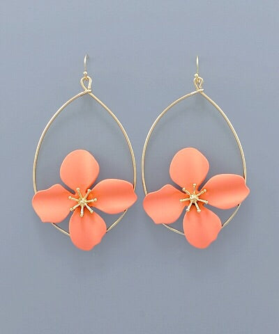 Flower Teardrop Earrings - Peach