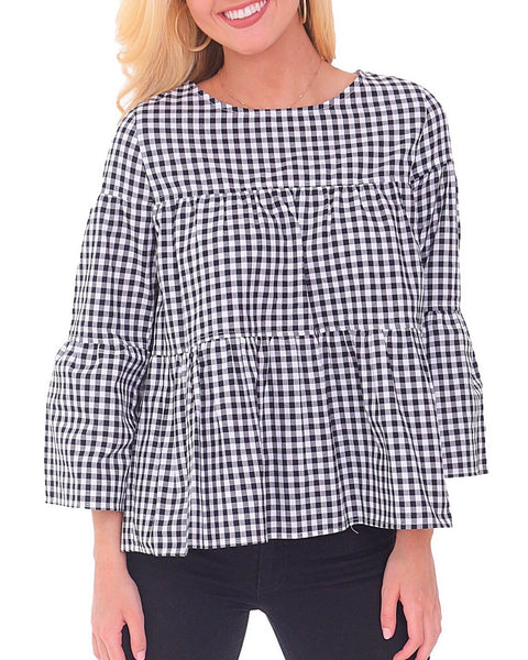 Blake Top - Black + White Gingham