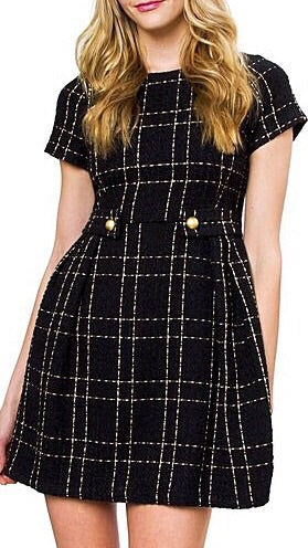 Keegan Tweed Dress - Black + Gold