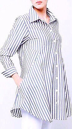 Mary Flare Button Down - Navy Stripe