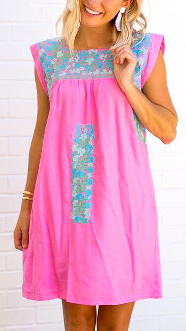 The Amelia Embroidered Dress - Pink + Mint