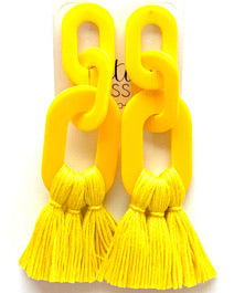 The Limehouse Tassel Earrings - Lemon