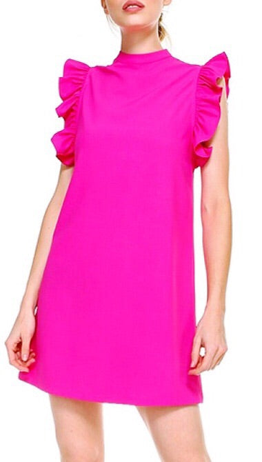 Lanier Ruffle Dress - Hot Pink