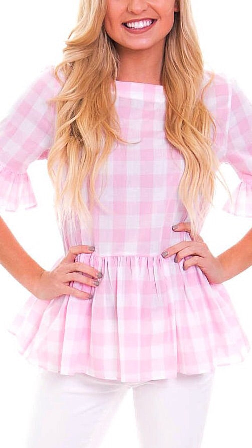 Betty B Top - Pale Pink Check