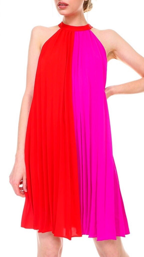 Parks Color-Blocked Dress - Poppy + Pink *PRE-ORDER*