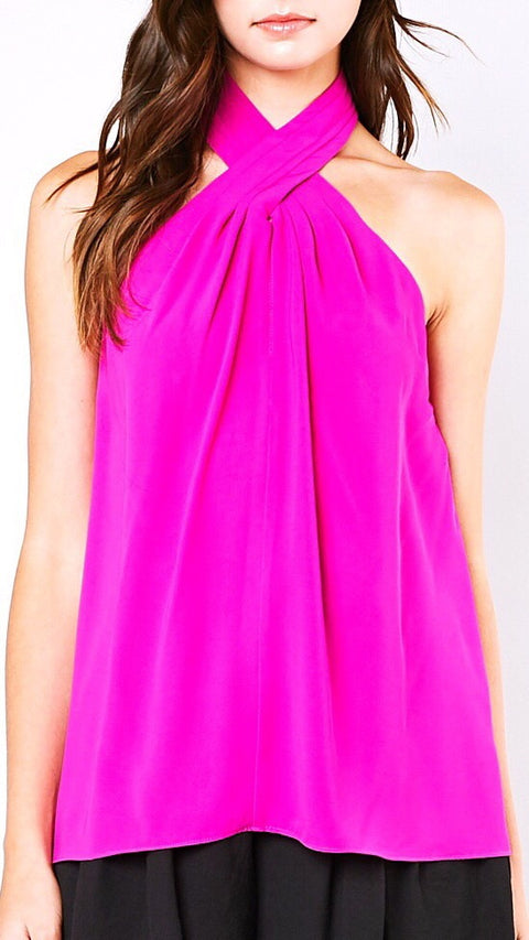Warby Pleated Halter Top - Fuschia *PRE-ORDER*