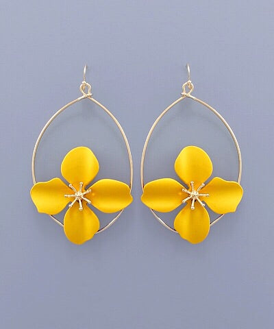Flower Teardrop Earrings - Marigold
