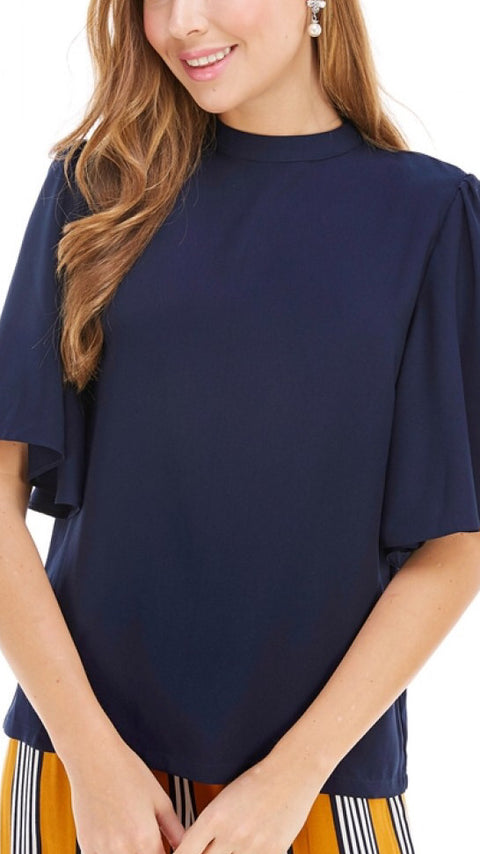 Mock Neck Flutter Sleeve Top - Navy