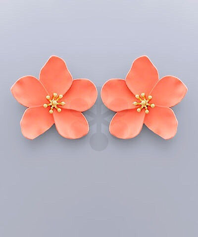 Flower Stud Earrings - Peach