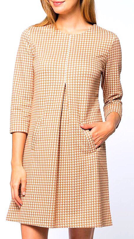 Cindy Dress - Camel Herringbone