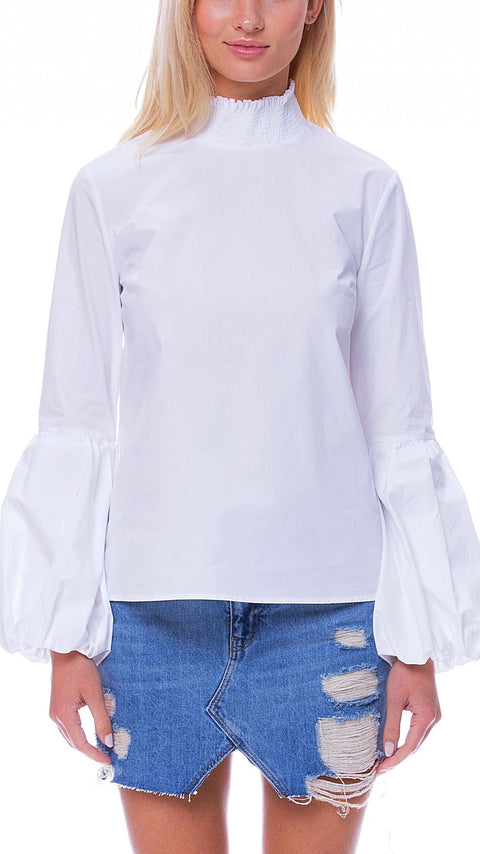 Annie Puff-Sleeve Top - White