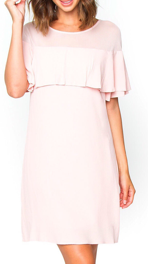 Anastasia Layered Cocktail Dress - Pale Pink