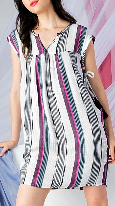 Roxanne Striped Dress - Pink + Black