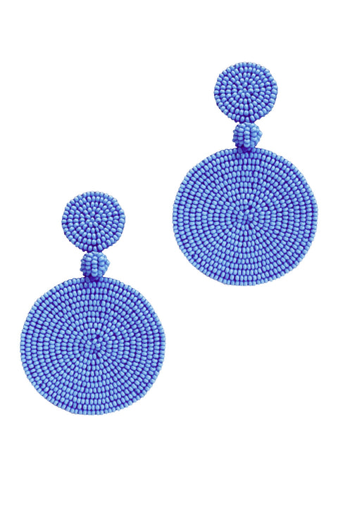 Cape Town Beaded Disc Earrings - Periwinkle *Clip-On