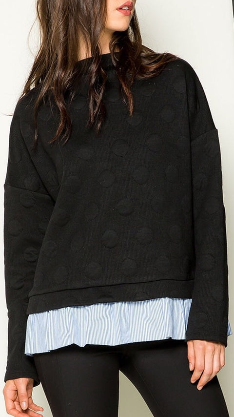 Dotted Sweater w/ Blouse - Black
