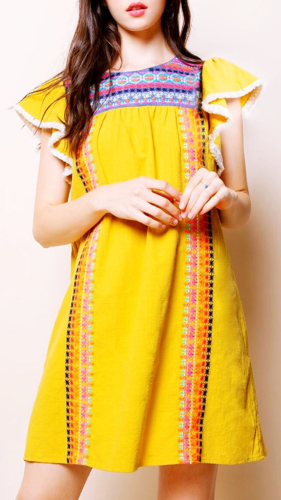 Marinna Embroidered Flutter Sleeve Dress - Mustard
