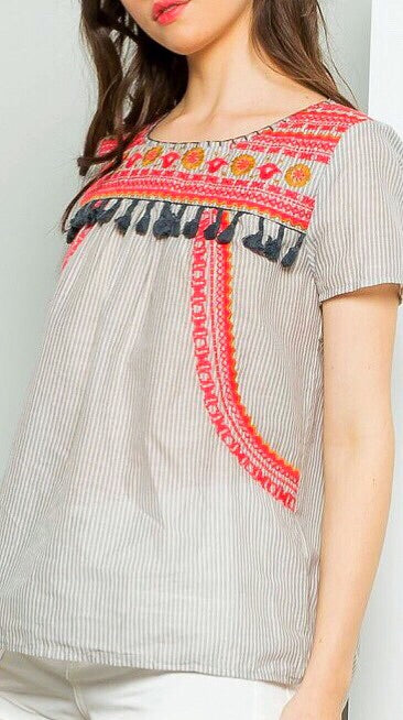 Short Sleeve Embroidered Top - Stripe