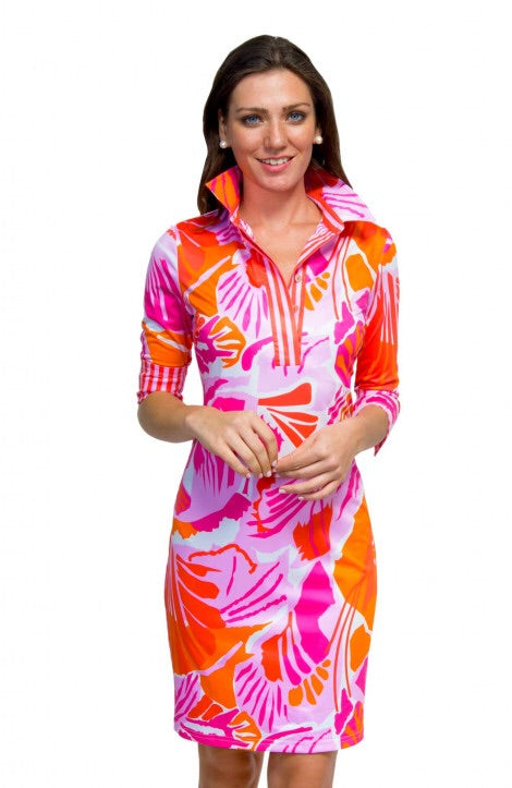 Everywhere Frond Dress - Orange + Pink