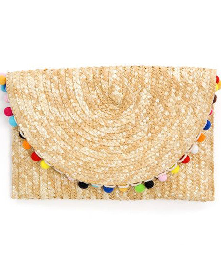 Carlita Pom Pom Clutch - Natural