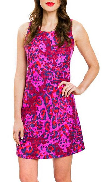 Leah Leopard Shimmer Dress - Pink