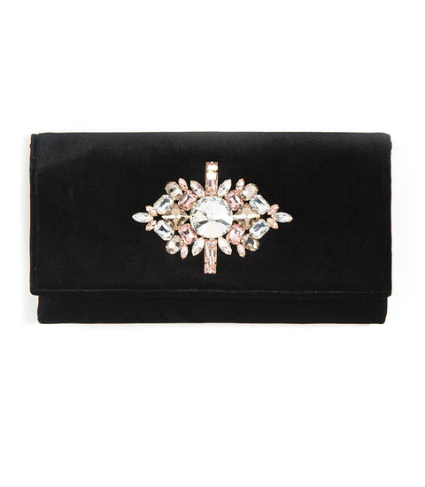 Val Jeweled Clutch - Black