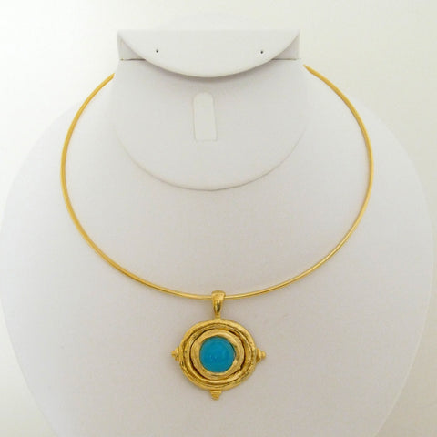 Aqua Neck Ring - Gold