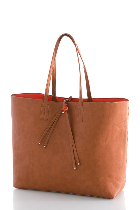 Olivia Reversible Tote - Cognac + Orange