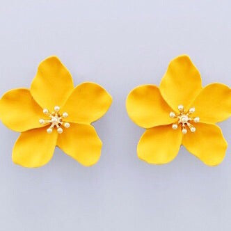 Flower Stud Earrings - Marigold