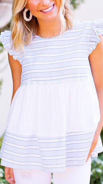 The Morgan Top - Blue + White Stripe