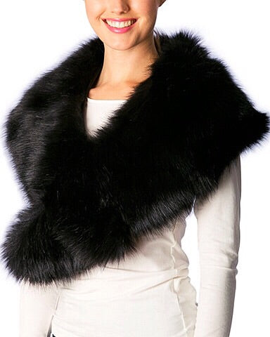 Faux Fur Shawl - Black