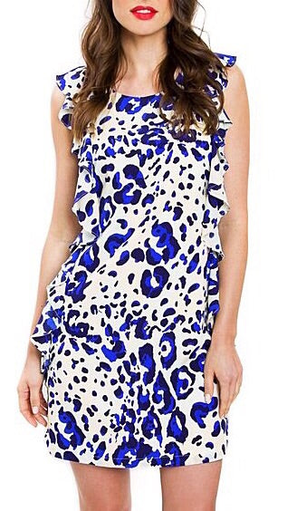 Heidi Ruffle Dress - Blue Animal