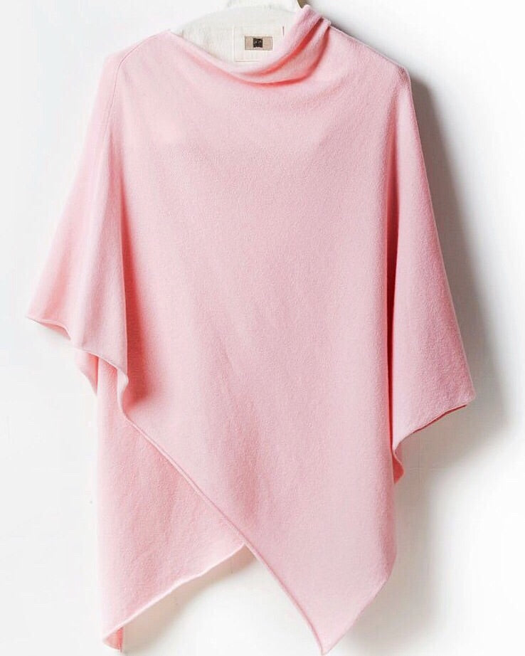One-Size Cashmere Poncho - Pale Pink