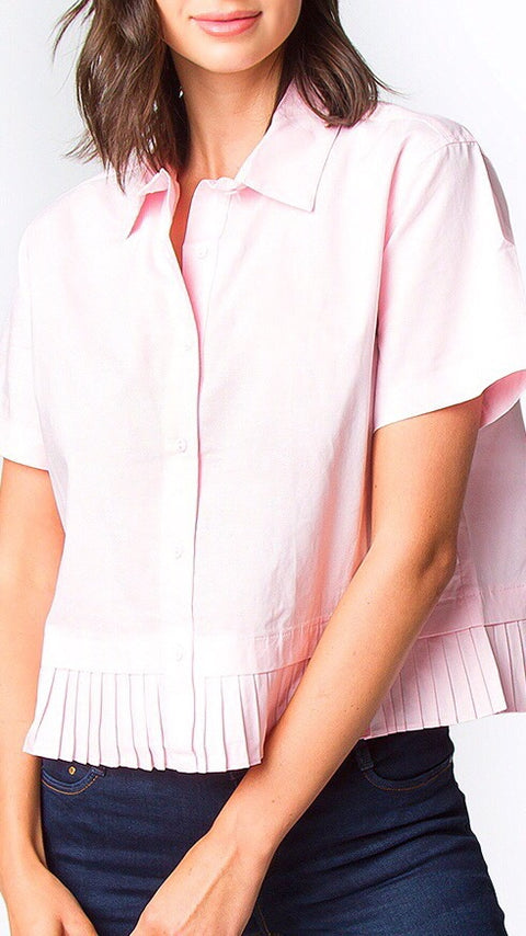 Quinn Pleated Button Down - Pale Pink *PRE-ORDER*