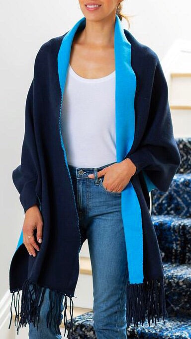 Reversible Wrap - Navy + Bright Blue