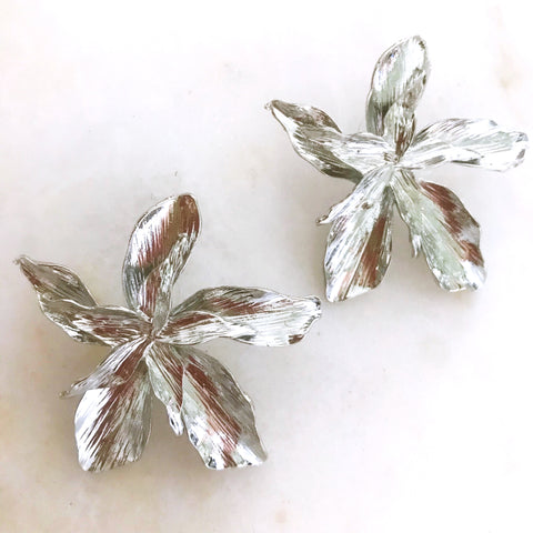 Lunar Flower Earrings - Silver