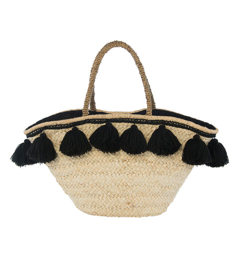 Santorini Tassel Tote - Natural + Black