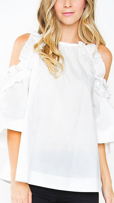 Lottie Ruffle Cold-Shoulder Top - White