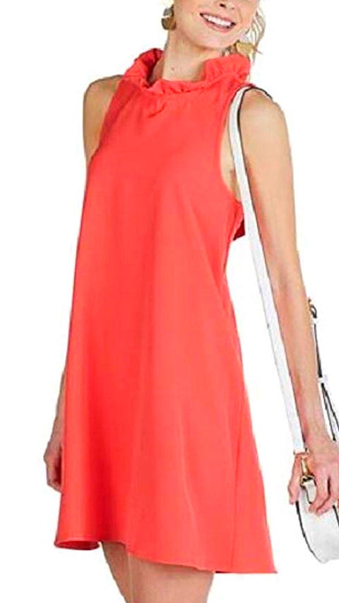 Eloise Ruffle Neck Dress - Coral