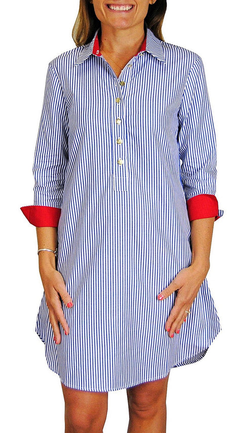 Popover Dress - Navy Stripe + Red