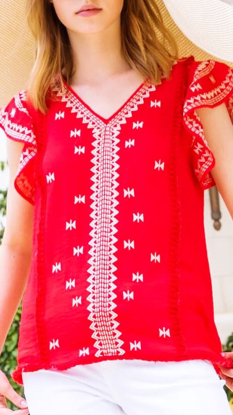 Embroidered V-Neck Top - Red