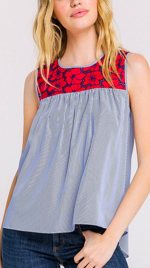 Avery Embroidered Top - Red + Blue