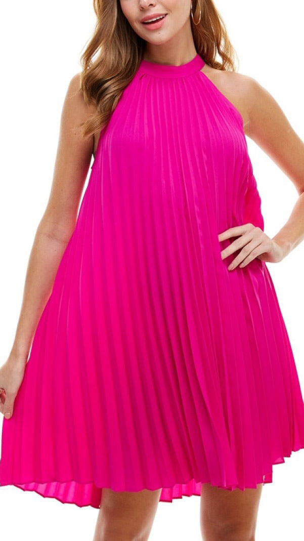 Leontine Pleated Halter Dress - Pink