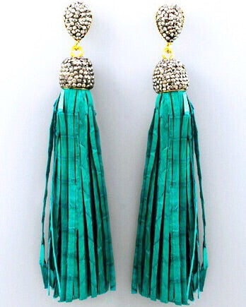 Hematite Leather Tassel Earrings - Emerald