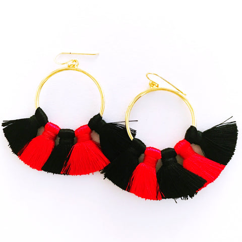 Gameday Earrings - Red + Black