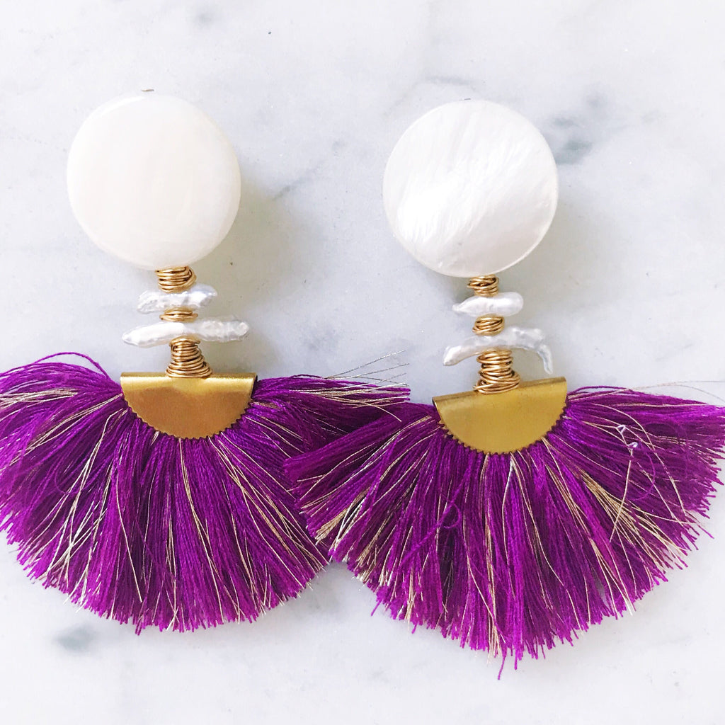 Ella Earrings - Purple + Gold